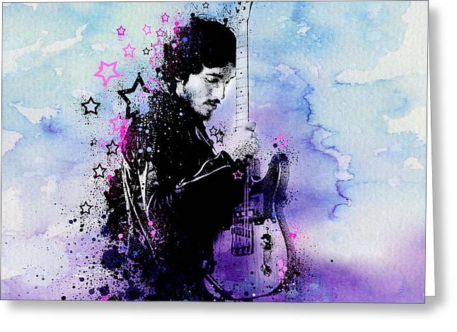 Bruce Springsteen Splats And Guitar 2 Greeting Card by Bekim Art