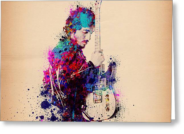 Bruce Springsteen Splats And Guitar Greeting Card by Bekim Art