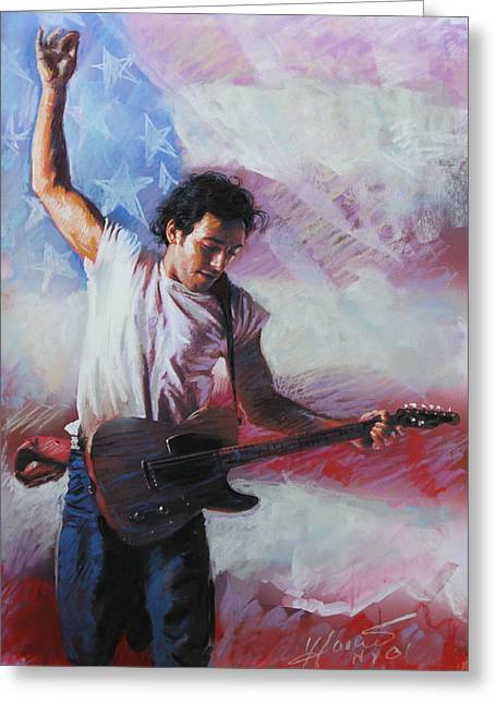 Bruce Springsteen The Boss Greeting Card by Viola El