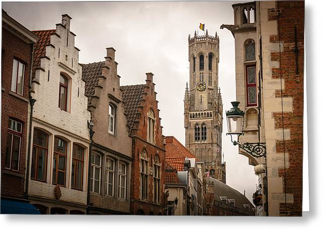 Bruges Belgium Bell Tower  Greeting Card by James Udall