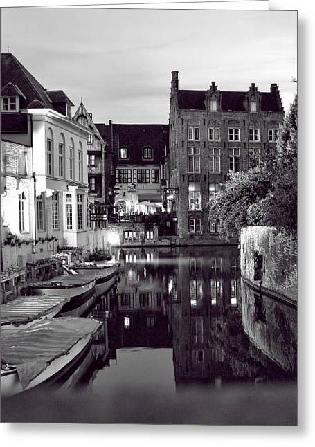 Bruges Canal In Black And White Greeting Card
