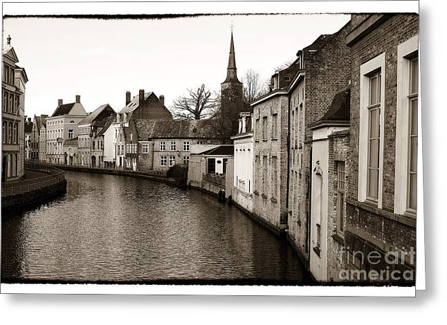 Bruges Canal Scene Vii Greeting Card by John Rizzuto