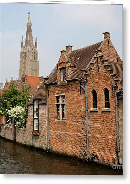 Bruges Houses With Bell Tower Greeting Card by Carol Groenen