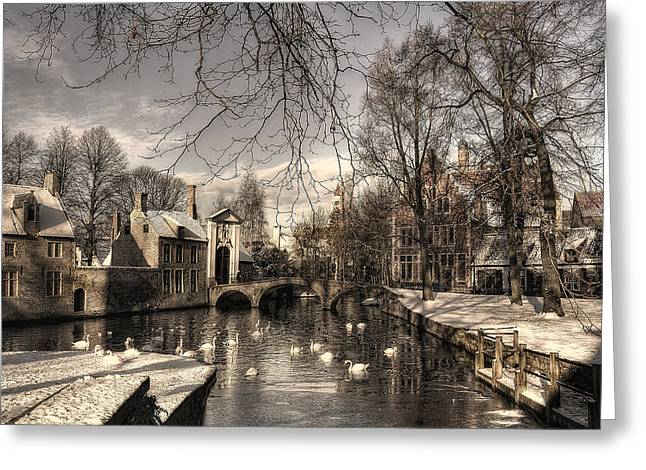Bruges In Christmas Dress Greeting Card