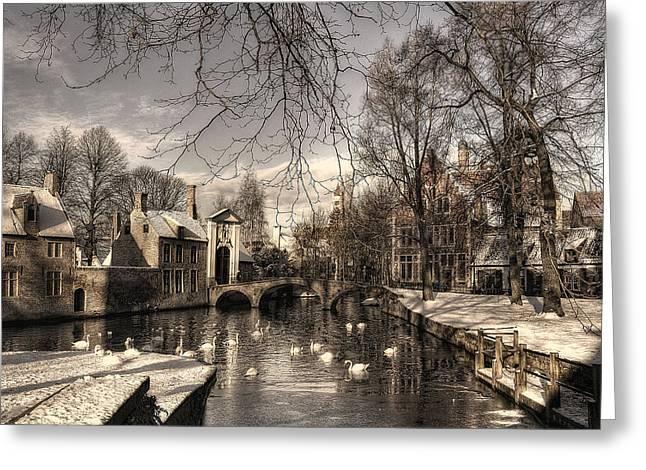 Bruges In Christmas Dress Greeting Card by Yvette Depaepe