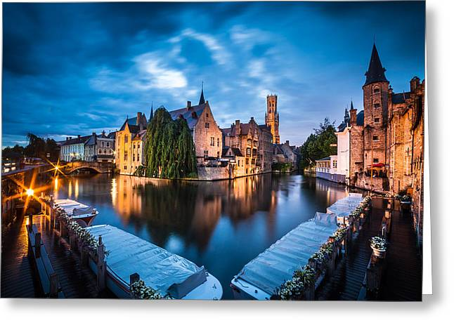 Bruges Night Greeting Card