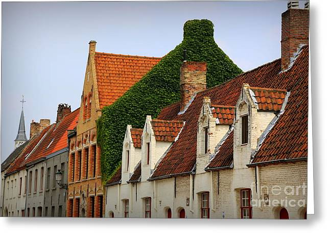 Bruges Rooftops Greeting Card by Carol Groenen