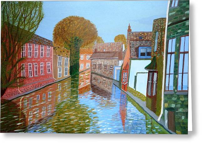 Greeting Card featuring the painting Brugge Canal by Magdalena Frohnsdorff