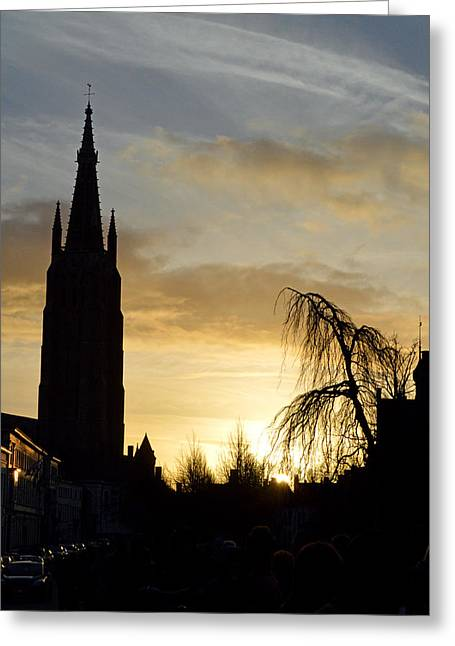 Brugges Sunset Greeting Card by Stephen Richards