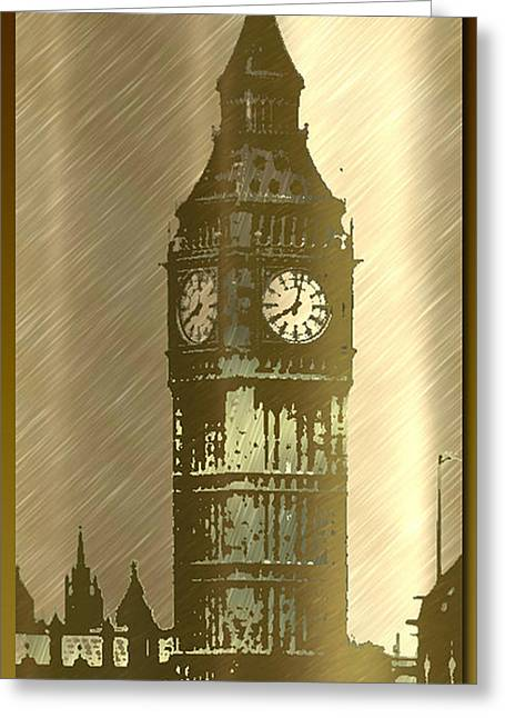 Brush Tone Big Ben Greeting Card by Debra     Vatalaro