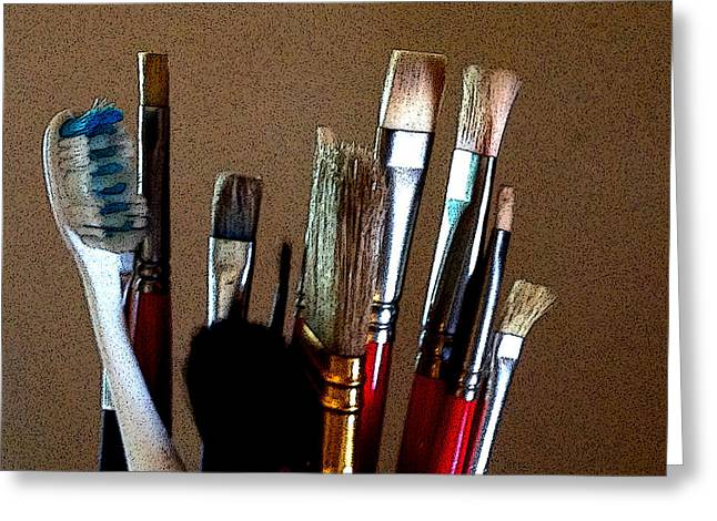 Brushes Greeting Card by Jeff Iverson