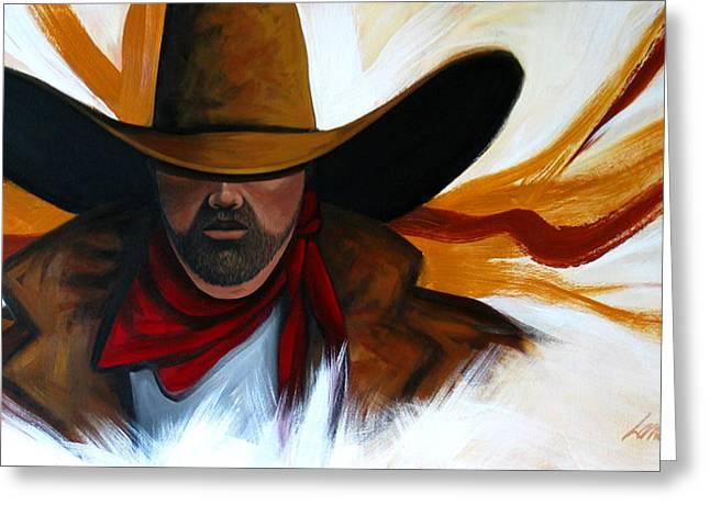 Brushstroke Cowboy #4 Greeting Card by Lance Headlee