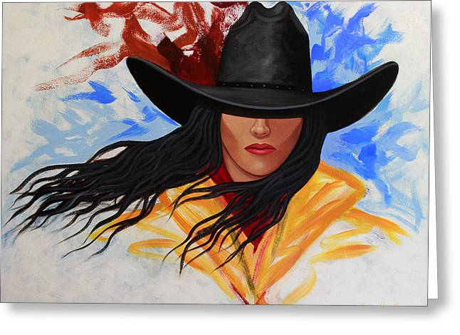 Brushstroke Cowgirl #3 Greeting Card by Lance Headlee