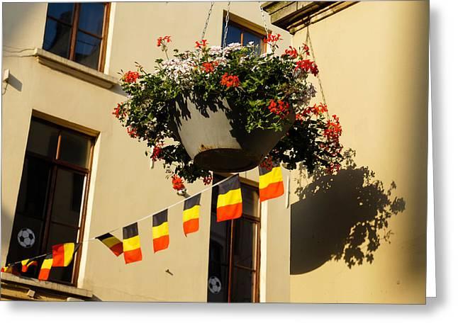 Brussels Belgium - Flowers Flags Football Greeting Card by Georgia Mizuleva