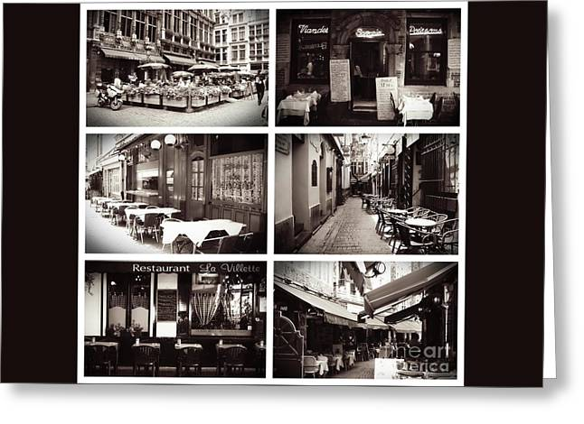 Brussels Cafes Collage Greeting Card by Carol Groenen