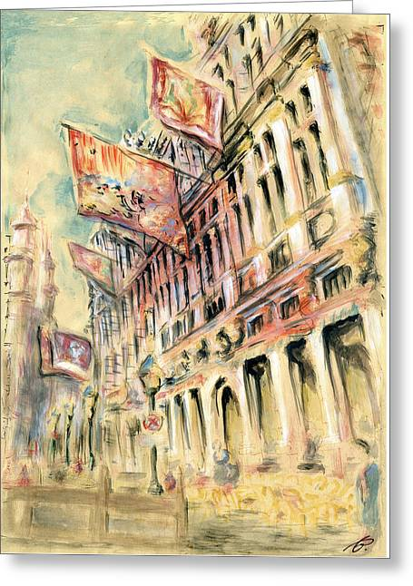 Brussels Grand Place - Watercolor Greeting Card