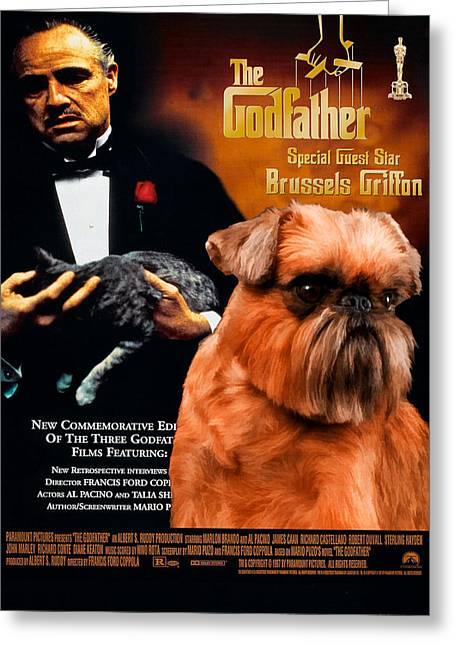 Brussels Griffon Art Canvas Print - The Godfather Movie Poster Greeting Card by Sandra Sij