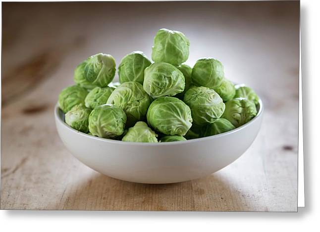 Brussels Sprouts In Bowl Greeting Card by Aberration Films Ltd