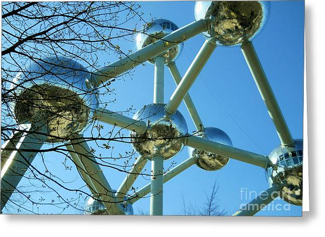 Greeting Card featuring the photograph Brussels Urban Blue by Ramona Matei