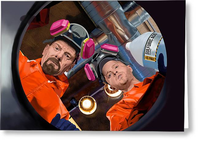 Bryan Cranston As Walter White And Aaron Paul As Jesse Pinkman @ Tv Serie Breaking Bad Greeting Card