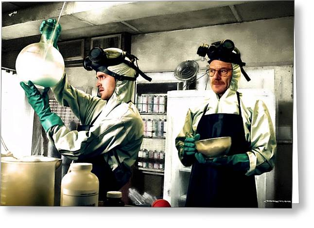 Bryan Cranston As Walter White And Aaron Paul As Jesse Pinkman Cooking Metha @ Tv Serie Breaking Bad Greeting Card