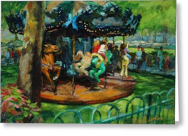Bryant Park - The Carousel Greeting Card by Peter Salwen