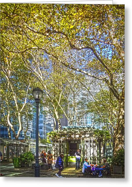 Bryant Park Afternoon Greeting Card by Richard Trahan
