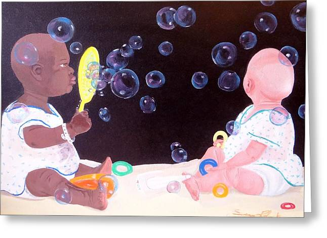 Bubble Babbies  Greeting Card by Susan Roberts