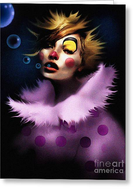 Bubble Clown Greeting Card by Robert Foster