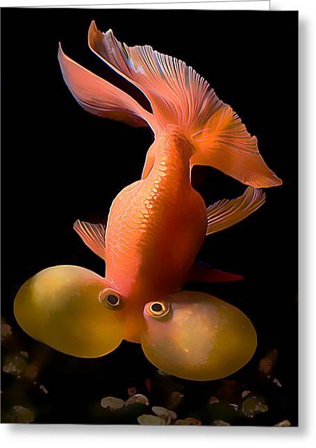 Bubble Eye Goldfish Greeting Card by Wernher Krutein