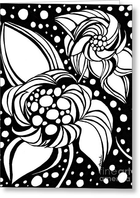 Bubble Flowers Greeting Card by Sarah Loft