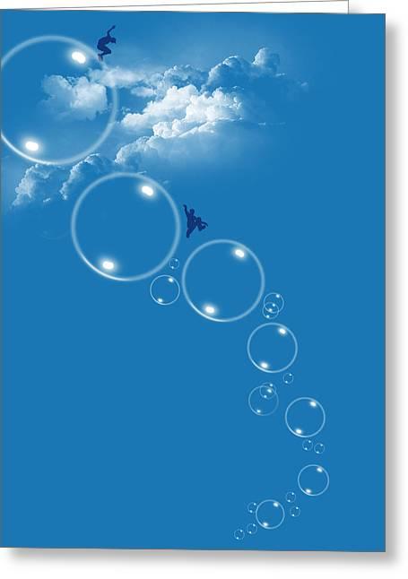 Bubble Gamers Greeting Card by Neelanjana  Bandyopadhyay