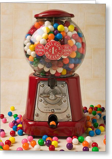 Bubble Gum Machine Greeting Card by Garry Gay