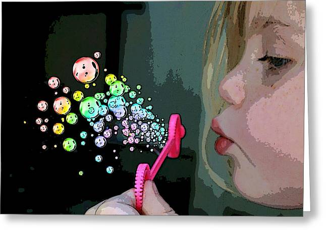 Bubble Magic Greeting Card by Ellen Henneke