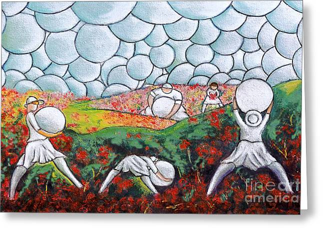 Bubble Sky And Flower Fields Greeting Card by William Cain