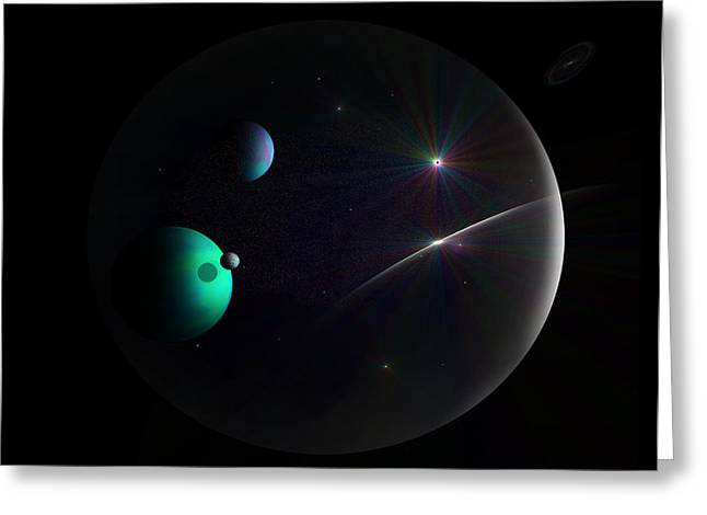 Bubbled Universe Greeting Card by Ricky Haug