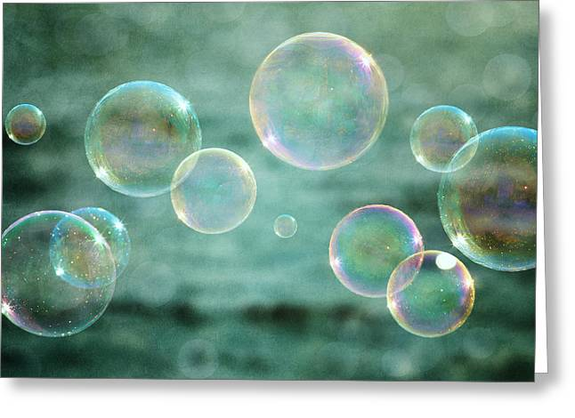 Bubbles In Teal And Pink Greeting Card by Lisa Russo