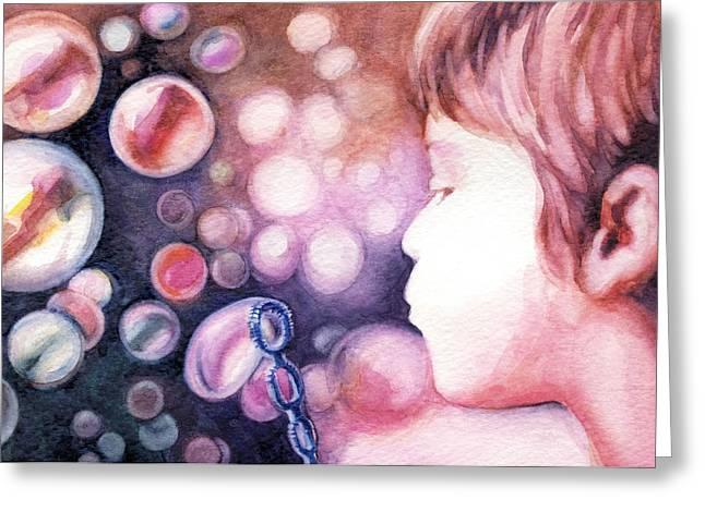 Bubbles Greeting Card by Natasha Denger