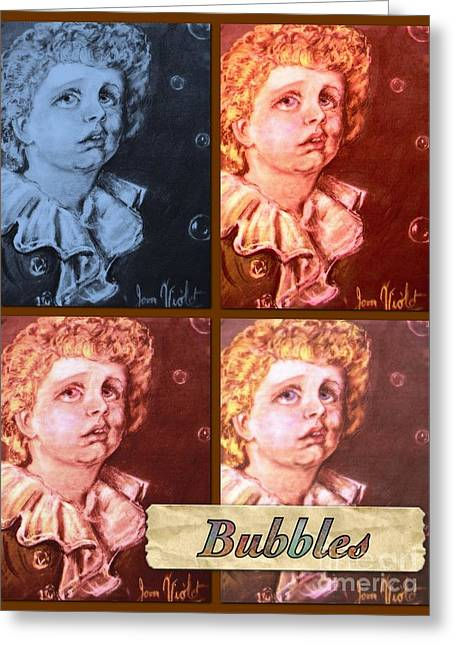Bubbles Portrait Collage Greeting Card