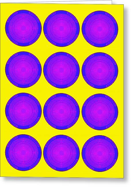 Bubbles Sunny Purple Blue Warhol  By Robert R Greeting Card