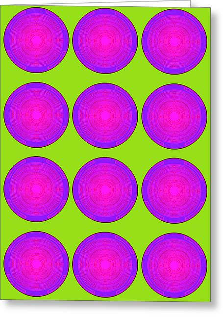 Bubbles Lime Purple Poster Greeting Card
