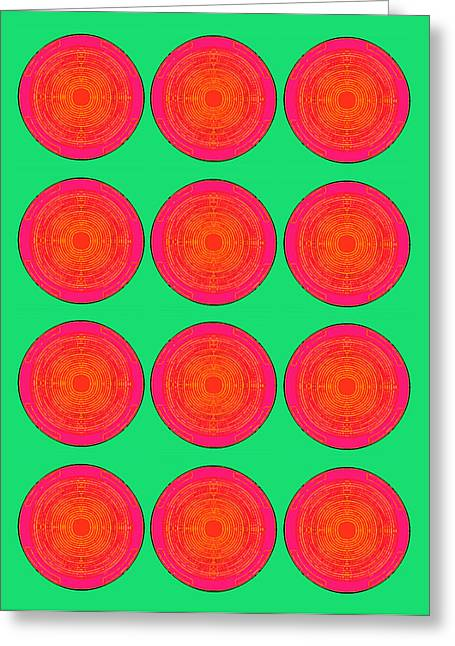 Bubbles Watermelon Warhol  By Robert R Greeting Card by Robert R Splashy Art Abstract Paintings