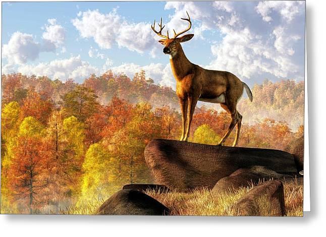 Buck Over Autumn Valley Greeting Card by Daniel Eskridge