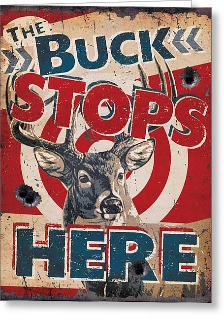 Buck Stops Here Sign Greeting Card