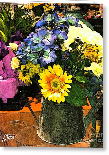 Greeting Card featuring the photograph Bucket Of Flowers by Phil Mancuso