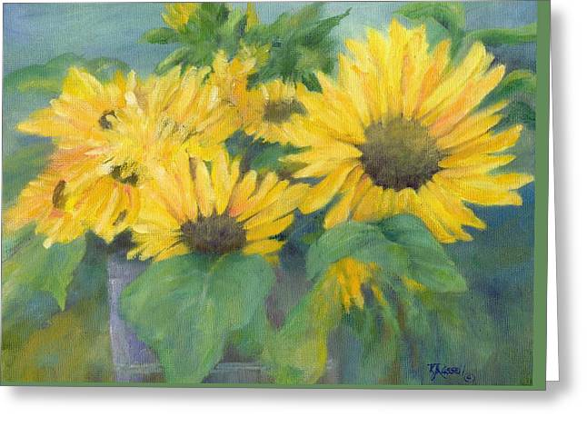 Bucket Of Sunflowers Colorful Original Painting Sunflowers Sunflower Art K. Joann Russell Artist Greeting Card by Elizabeth Sawyer