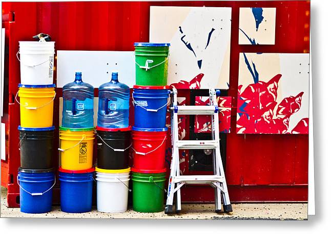 Buckets Of Color Greeting Card by Karol Livote