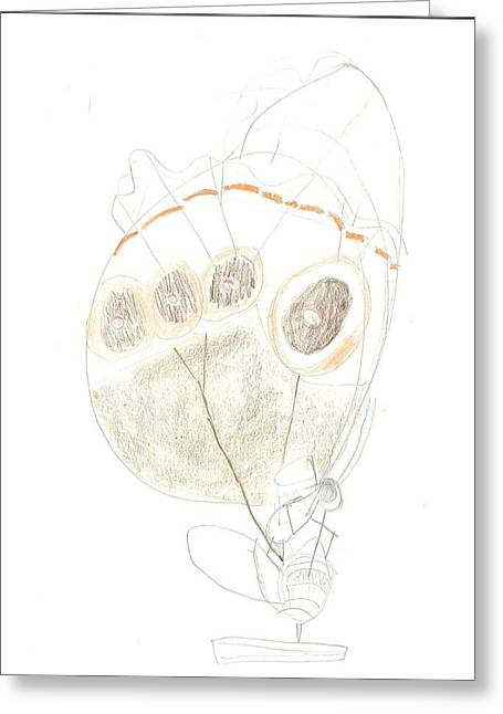 Greeting Card featuring the drawing Buckeye Butterfly by Fred Hanna