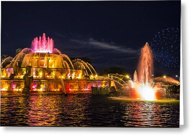 Buckingham Fountain And Fireworks  Greeting Card by John McGraw