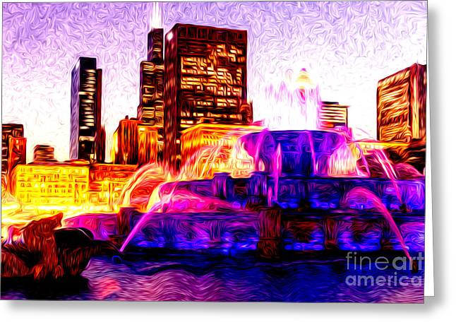 Buckingham Fountain At Night Digital Painting Greeting Card by Paul Velgos